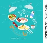 breakfast set for good morning... | Shutterstock .eps vector #730816906