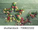 decorative christmas star with... | Shutterstock . vector #730822102