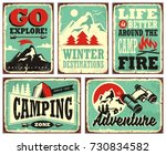 retro collection of winter... | Shutterstock .eps vector #730834582