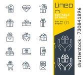 lineo editable stroke   gifts... | Shutterstock .eps vector #730841896