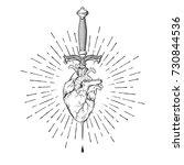 human heart pierced with ritual ... | Shutterstock .eps vector #730844536