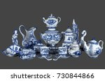 porcelain tea set and tableware ... | Shutterstock . vector #730844866