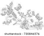 graceful ornament with cute... | Shutterstock .eps vector #730846576