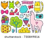 doodles cute elements. color... | Shutterstock .eps vector #730849816