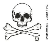 Hand Drawn Skull And Crossbone...