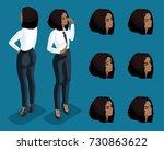 isometry girl emotions  hand... | Shutterstock .eps vector #730863622