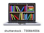 laptop and many book. 3d... | Shutterstock . vector #730864006