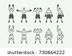 vintage retro boxers set. can... | Shutterstock .eps vector #730864222