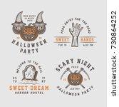 vintage retro halloween logos ... | Shutterstock .eps vector #730864252