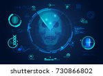 concept of face scanning  radar ... | Shutterstock .eps vector #730866802