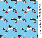 seamless pattern with bullfinch ... | Shutterstock .eps vector #730878352