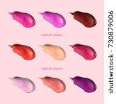 smears of lipstick set.... | Shutterstock .eps vector #730879006
