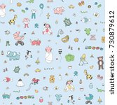 Stock photo happy birthday baby blue doodle cartoon objects seamless pattern 730879612