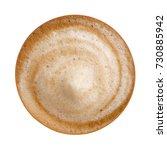 top view of hot coffee latte... | Shutterstock . vector #730885942