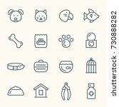 pet shop line icon set | Shutterstock .eps vector #730888282