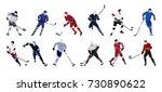 hockey players set on white... | Shutterstock .eps vector #730890622