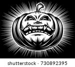 halloween pumpkin with carved... | Shutterstock .eps vector #730892395