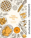 thanksgiving day top view... | Shutterstock .eps vector #730900495