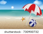 illustration of a beach on the... | Shutterstock . vector #730900732