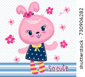 cute cartoon rabbit girl in... | Shutterstock .eps vector #730906282