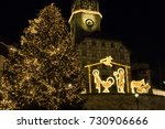 christmas crib made of light... | Shutterstock . vector #730906666