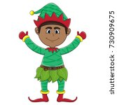 christmas elf cartoon | Shutterstock . vector #730909675