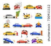 car crash set. road safety ... | Shutterstock .eps vector #730911112