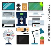 group computer office equipment.... | Shutterstock .eps vector #730913872