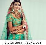 portrait of beautiful indian... | Shutterstock . vector #730917016