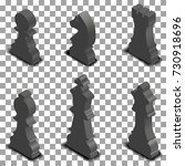 photo realistic black chess... | Shutterstock .eps vector #730918696