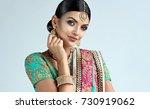portrait of beautiful indian... | Shutterstock . vector #730919062