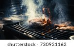 marbling beef fat meat in fire... | Shutterstock . vector #730921162