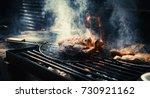 marbling beef fat meat in fire... | Shutterstock . vector #730921162