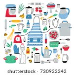 collection of hand drawn... | Shutterstock .eps vector #730922242