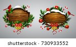 vector wooden christmas board | Shutterstock .eps vector #730933552
