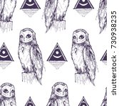 seamless texture with owl. old  ...   Shutterstock .eps vector #730938235