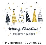 christmas greeting card with... | Shutterstock .eps vector #730938718