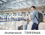 young asian waiting for check... | Shutterstock . vector #730939666