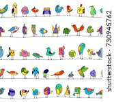 cartoon colorful flock of funny ... | Shutterstock .eps vector #730945762