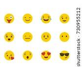 set of emoticons. set of emoji. ... | Shutterstock .eps vector #730955212