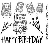 set of owls happy birth day ... | Shutterstock .eps vector #730976998