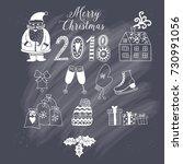 christmas doodles elements ... | Shutterstock .eps vector #730991056