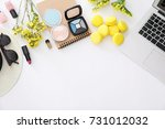 composition with laptop ... | Shutterstock . vector #731012032