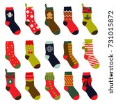 set of christmas socks. vector... | Shutterstock .eps vector #731015872