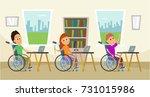 disabled children in wheelchair ...   Shutterstock .eps vector #731015986