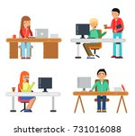 freelancers male and female at... | Shutterstock .eps vector #731016088