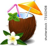 exotic coconut cocktail  over... | Shutterstock .eps vector #73102408