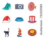 sunday show icons set. cartoon... | Shutterstock .eps vector #731025085