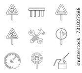 rugged terrain icons set....   Shutterstock .eps vector #731027368