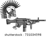 skeleton with guns cartridges... | Shutterstock .eps vector #731034598